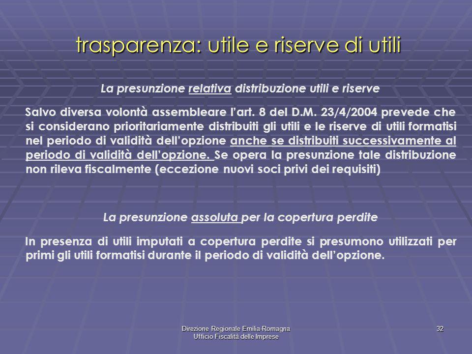 trasparenza: utile e riserve di utili