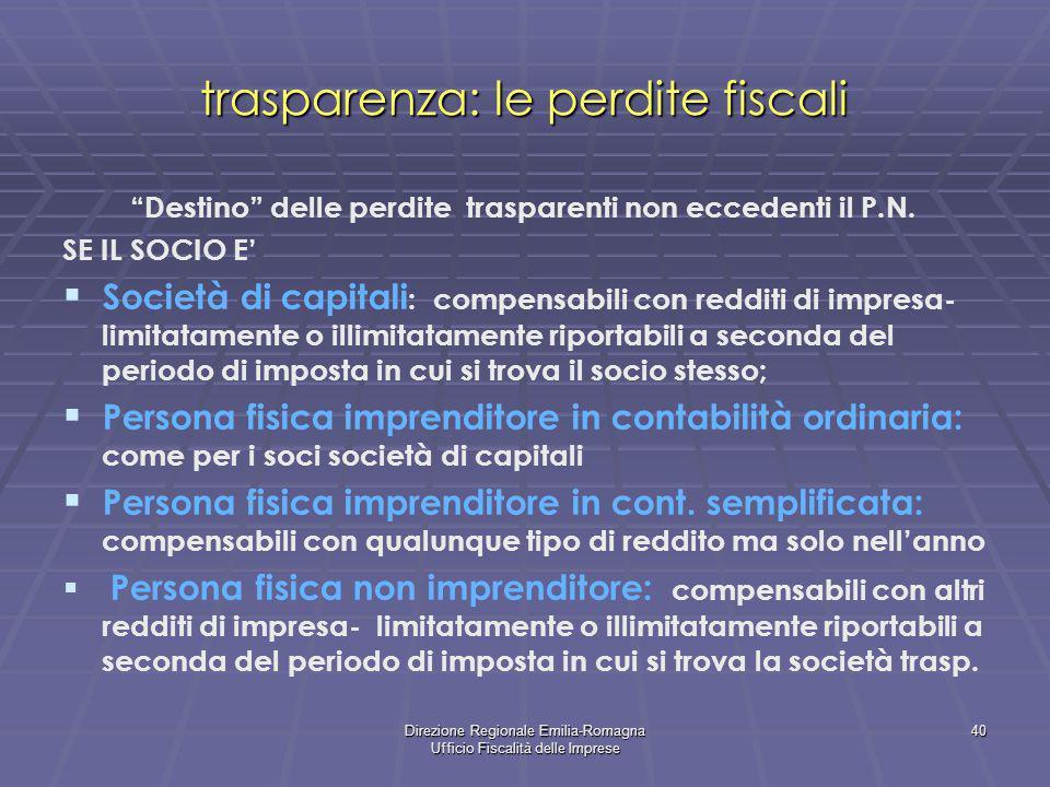 trasparenza: le perdite fiscali
