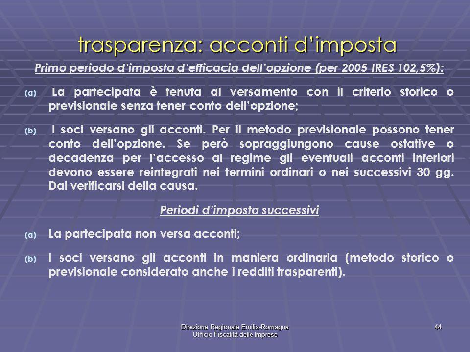trasparenza: acconti d'imposta