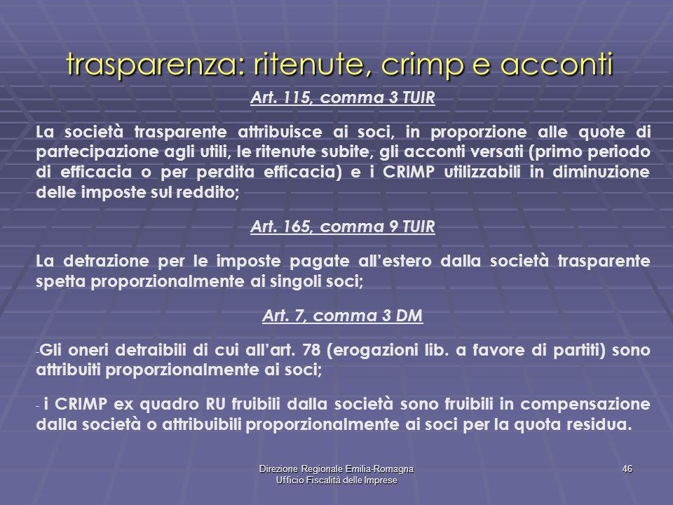 trasparenza: ritenute, crimp e acconti