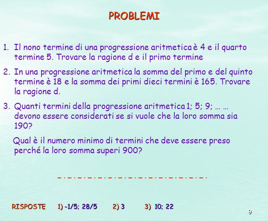 PROBLEMI Il nono termine di una progressione aritmetica è 4 e il quarto termine 5. Trovare la ragione d e il primo termine.