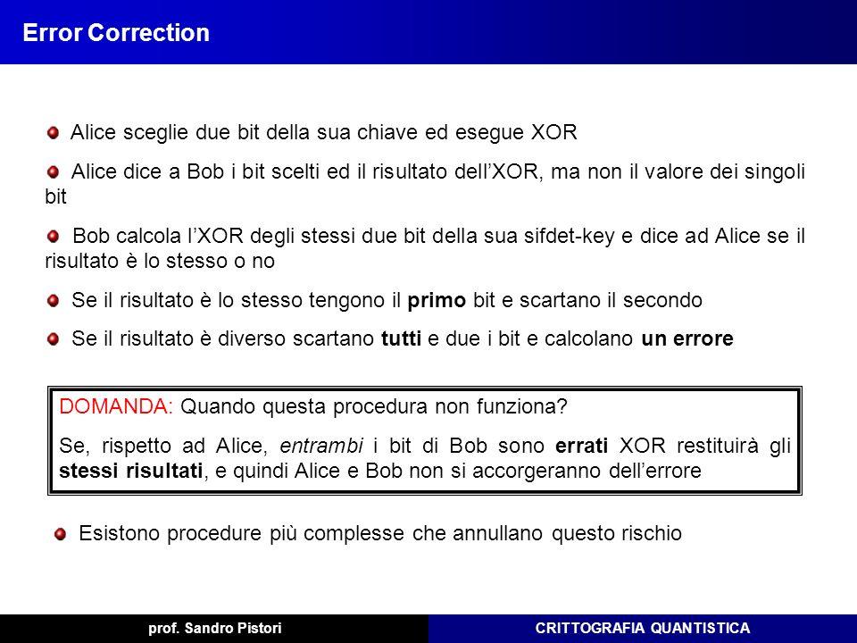 Error Correction Alice sceglie due bit della sua chiave ed esegue XOR