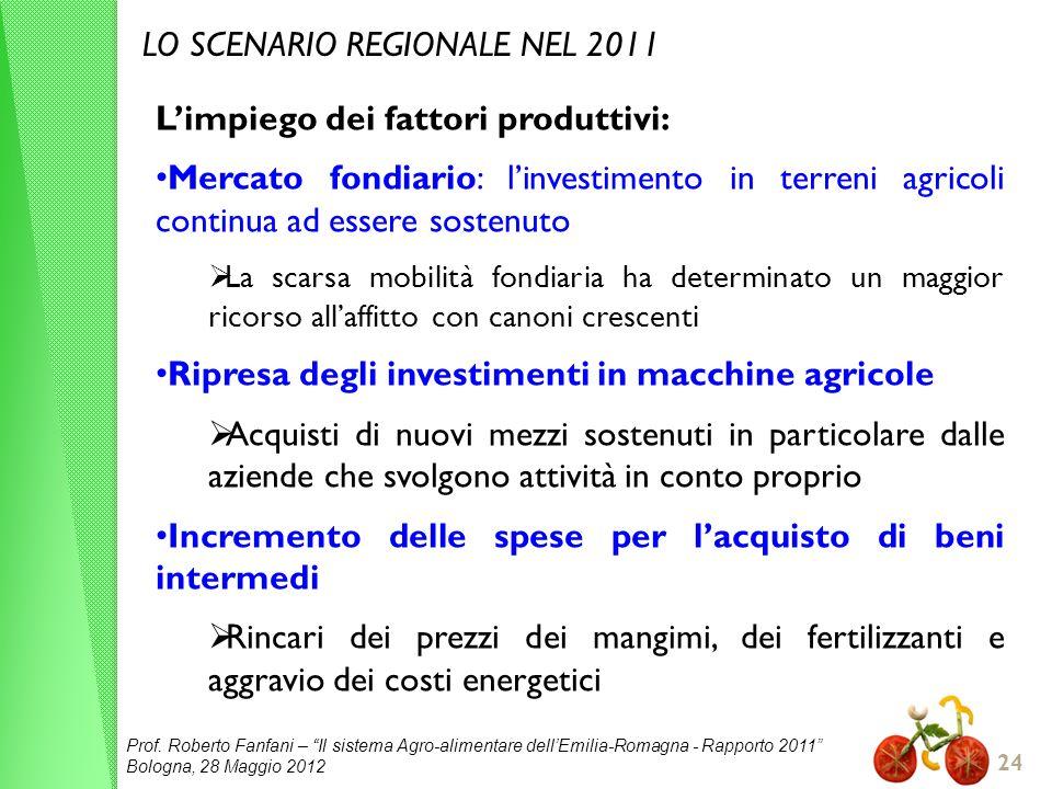 LO SCENARIO REGIONALE NEL 2011