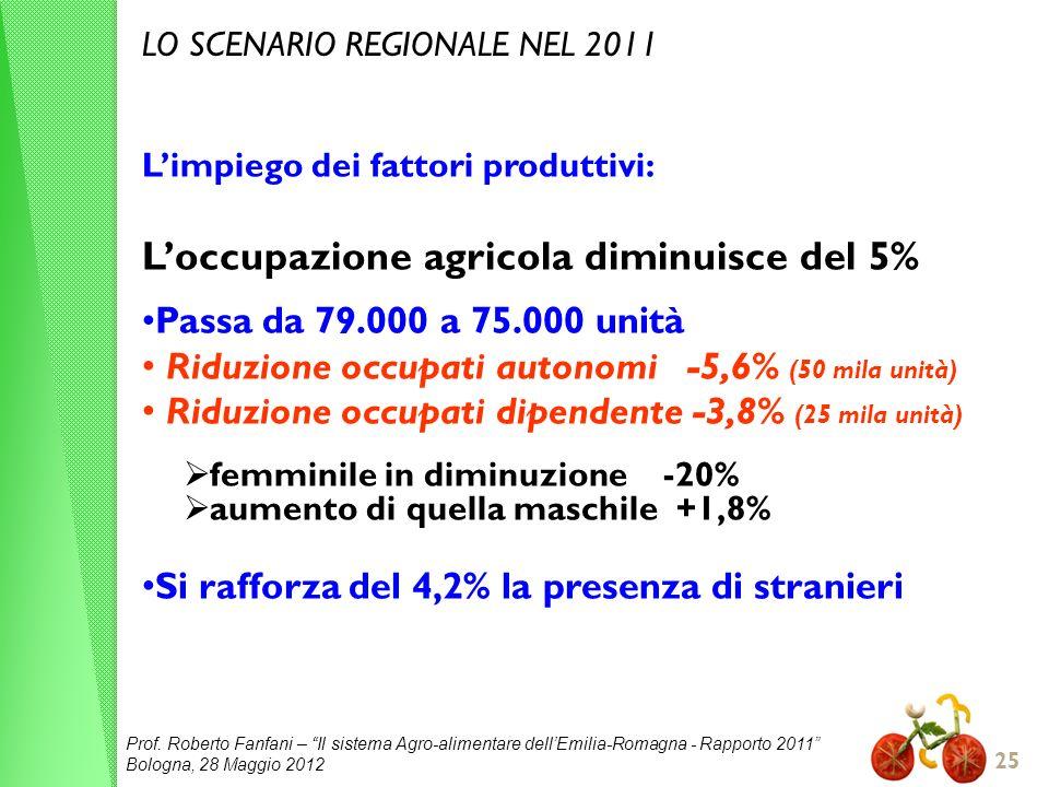 L'occupazione agricola diminuisce del 5%
