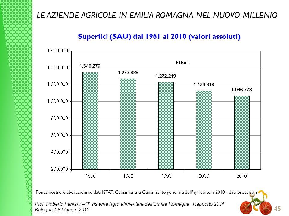 Superfici (SAU) dal 1961 al 2010 (valori assoluti)