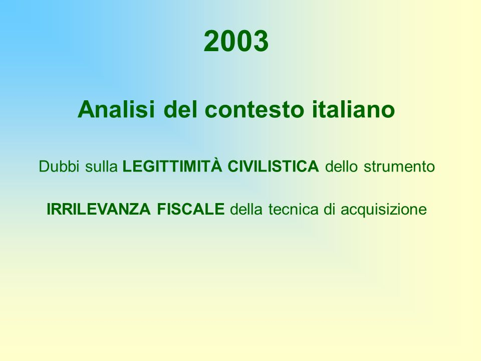 Analisi del contesto italiano