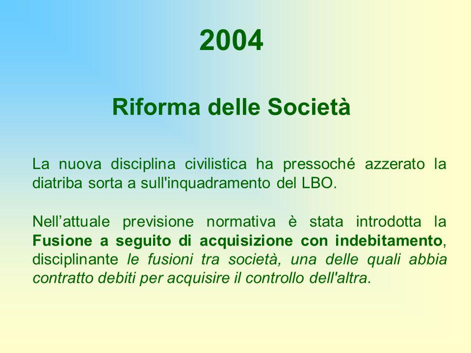 2004 Riforma delle Società. La nuova disciplina civilistica ha pressoché azzerato la diatriba sorta a sull inquadramento del LBO.