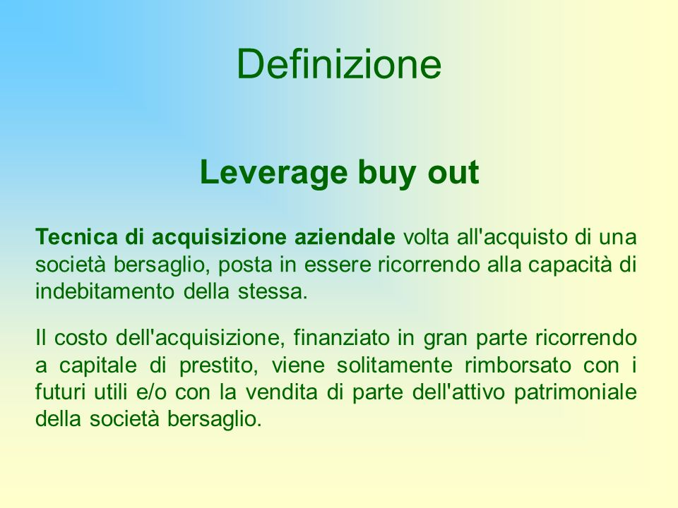 Definizione Leverage buy out