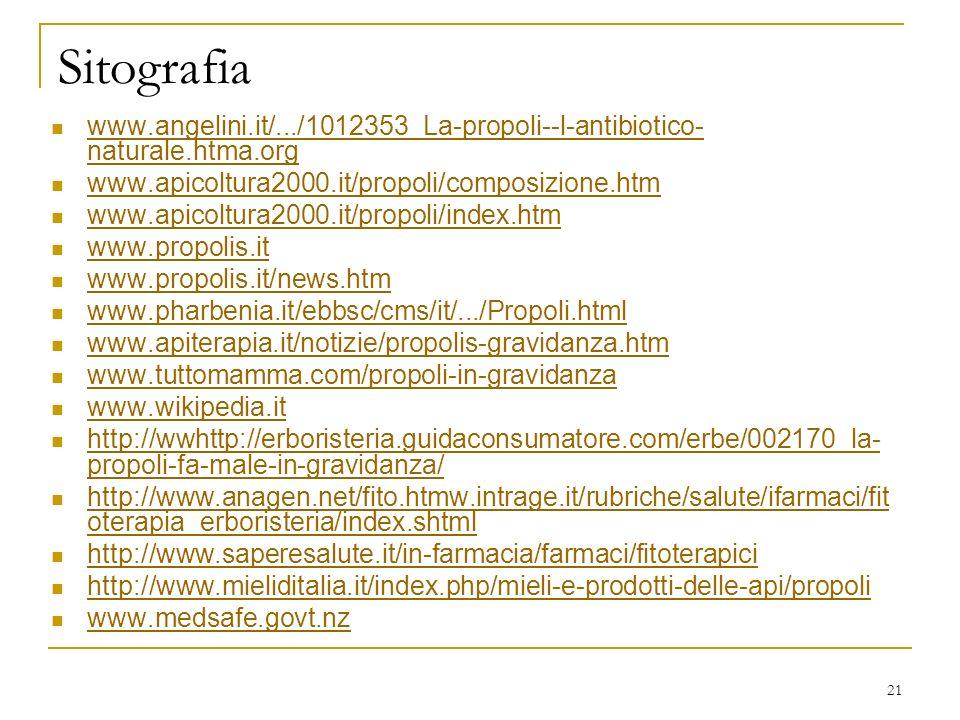 Sitografia www.angelini.it/.../1012353_La-propoli--l-antibiotico-naturale.htma.org. www.apicoltura2000.it/propoli/composizione.htm.