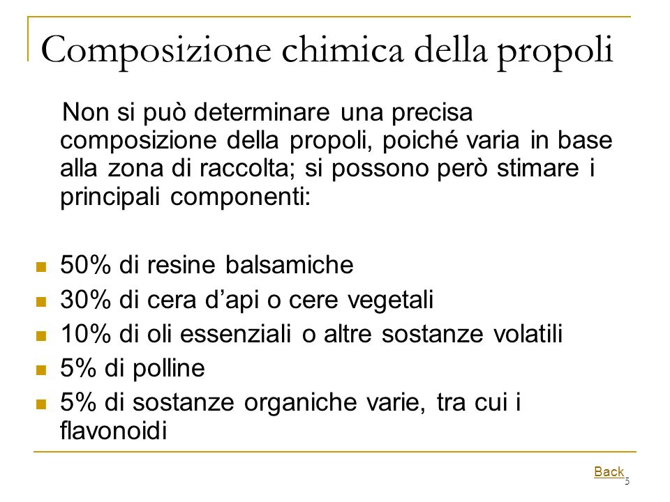 Composizione chimica della propoli
