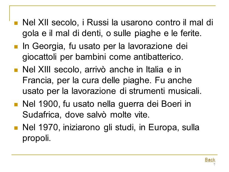 Nel 1970, iniziarono gli studi, in Europa, sulla propoli.