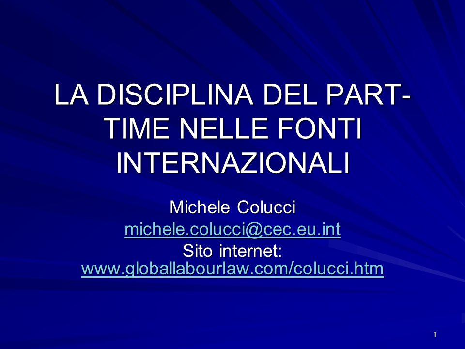 LA DISCIPLINA DEL PART-TIME NELLE FONTI INTERNAZIONALI