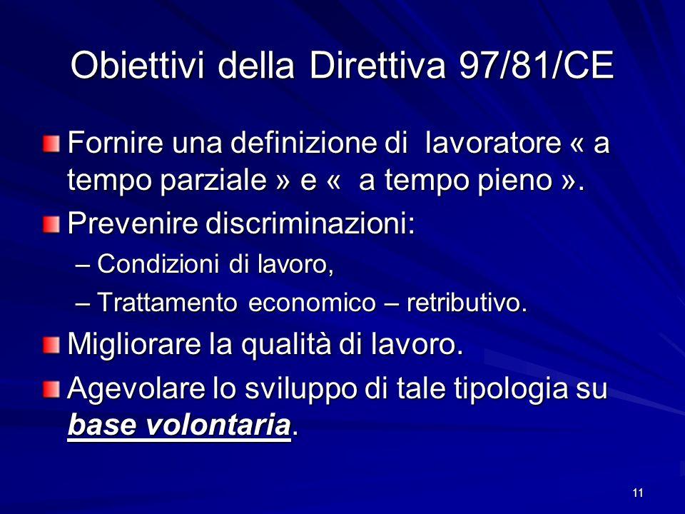 Obiettivi della Direttiva 97/81/CE