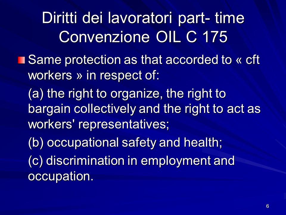Diritti dei lavoratori part- time Convenzione OIL C 175