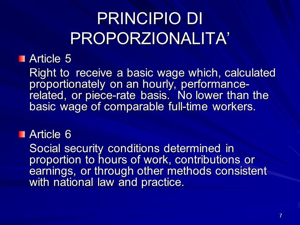 PRINCIPIO DI PROPORZIONALITA'