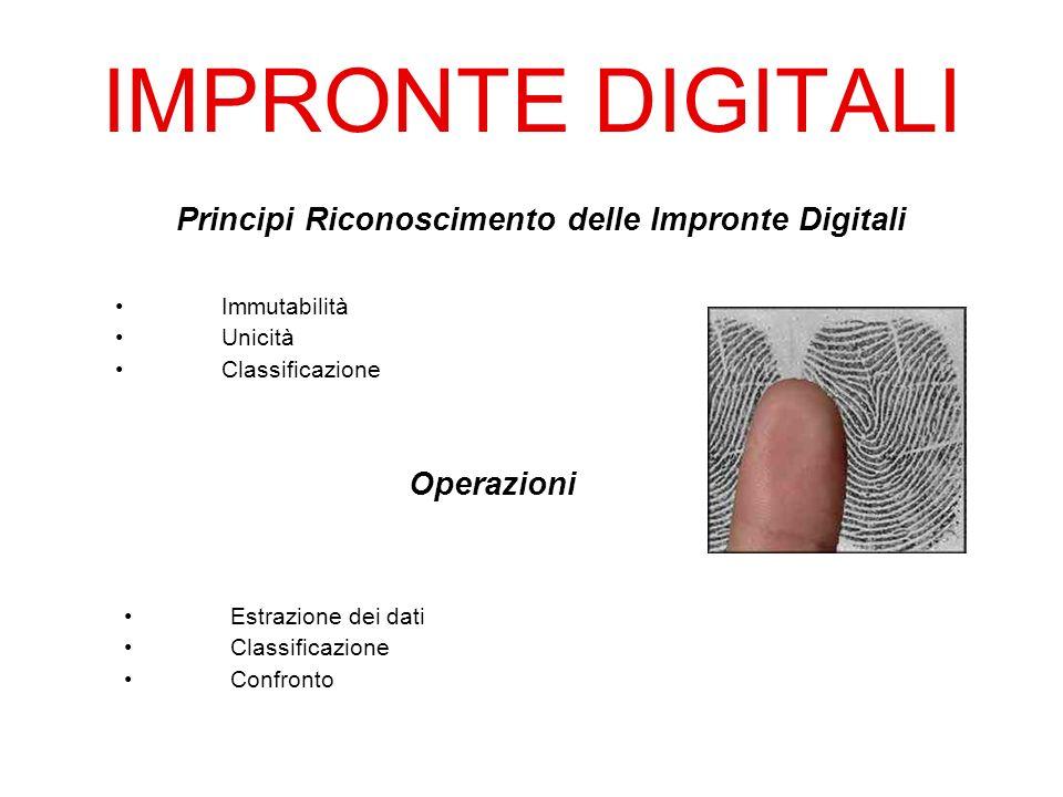 IMPRONTE DIGITALI Principi Riconoscimento delle Impronte Digitali