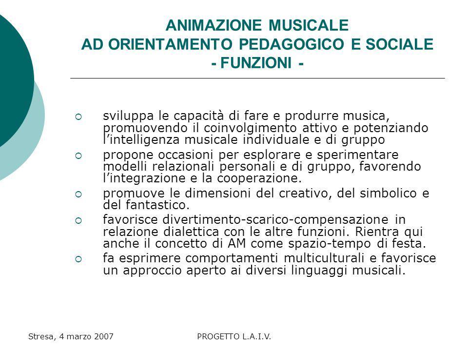 ANIMAZIONE MUSICALE AD ORIENTAMENTO PEDAGOGICO E SOCIALE - FUNZIONI -
