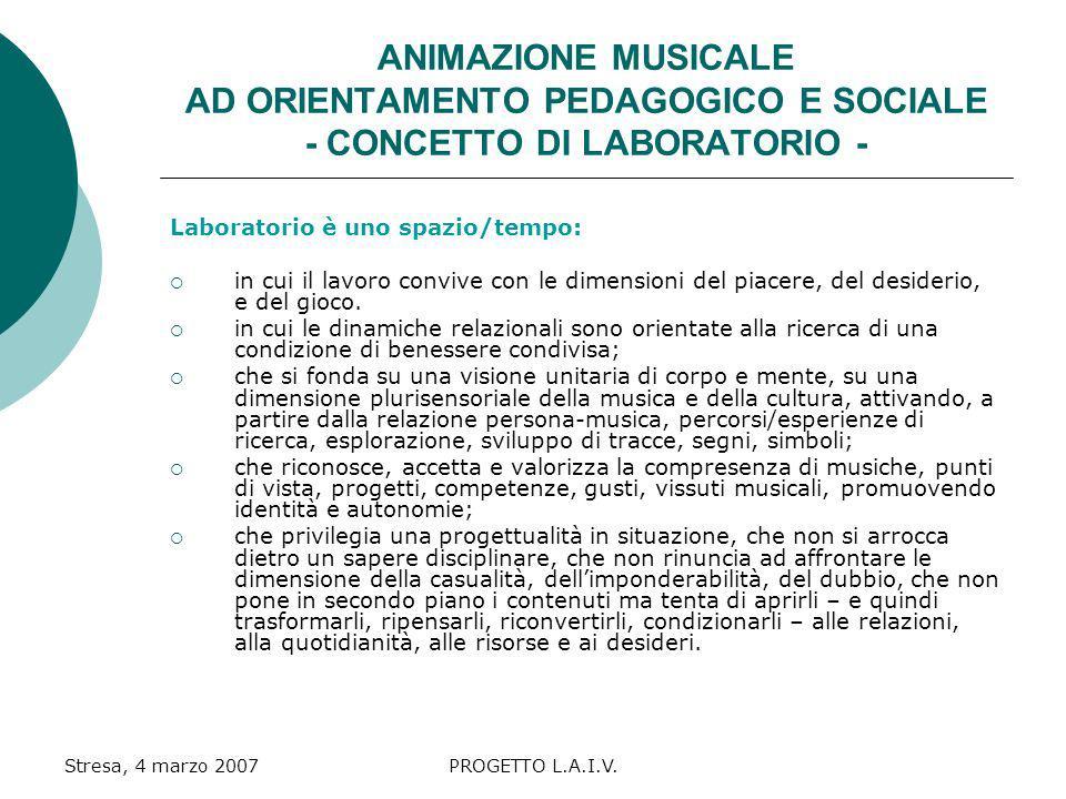 ANIMAZIONE MUSICALE AD ORIENTAMENTO PEDAGOGICO E SOCIALE - CONCETTO DI LABORATORIO -