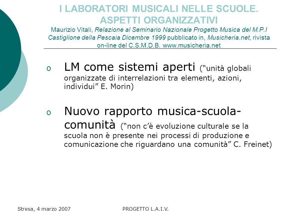 I LABORATORI MUSICALI NELLE SCUOLE