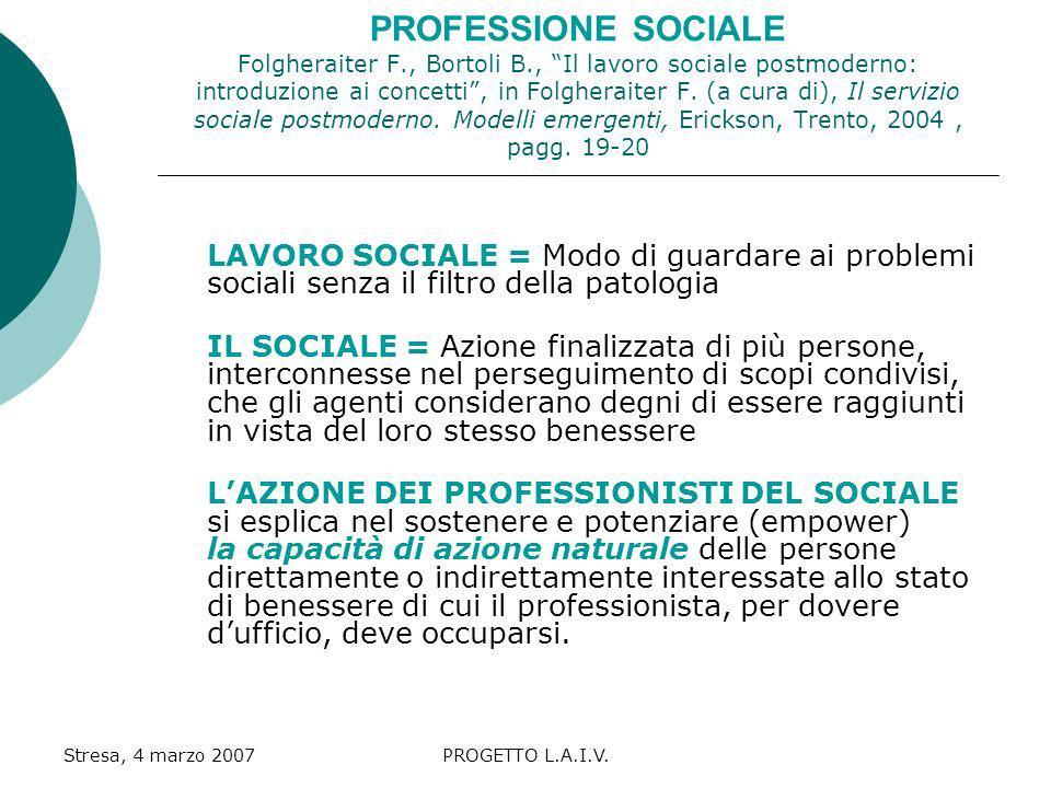 PROFESSIONE SOCIALE Folgheraiter F. , Bortoli B