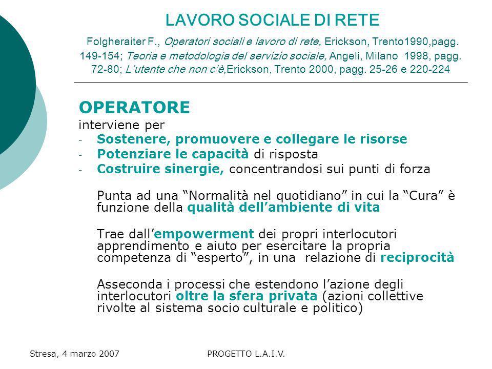 LAVORO SOCIALE DI RETE Folgheraiter F