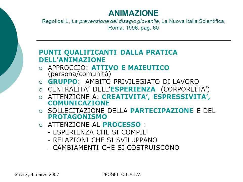 ANIMAZIONE Regoliosi L, La prevenzione del disagio giovanile, La Nuova Italia Scientifica, Roma, 1996, pag. 60