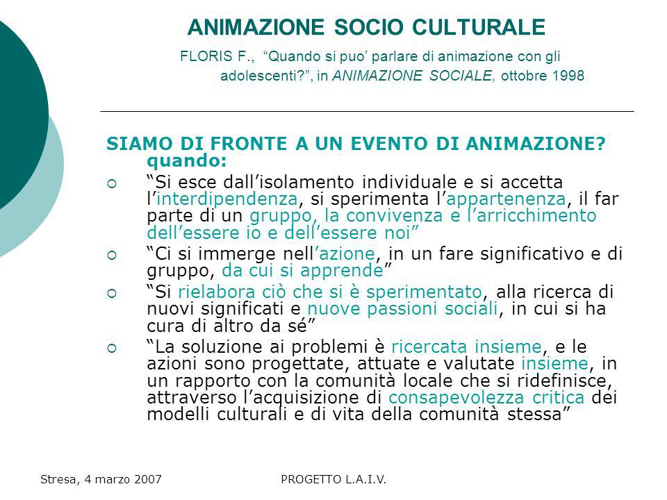 ANIMAZIONE SOCIO CULTURALE FLORIS F