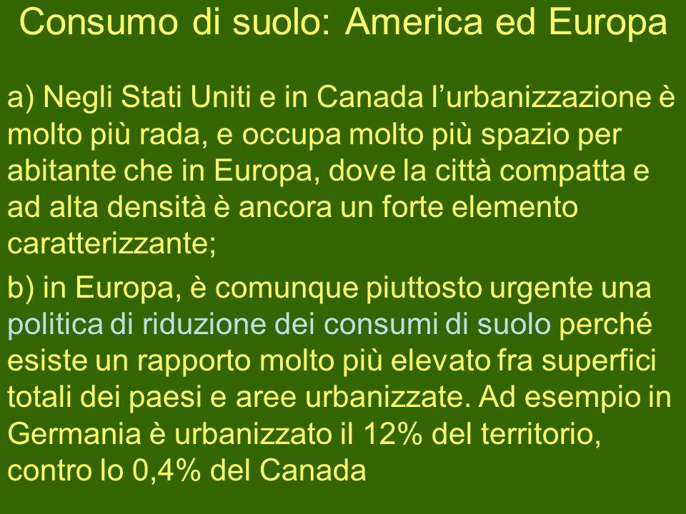 Consumo di suolo: America ed Europa