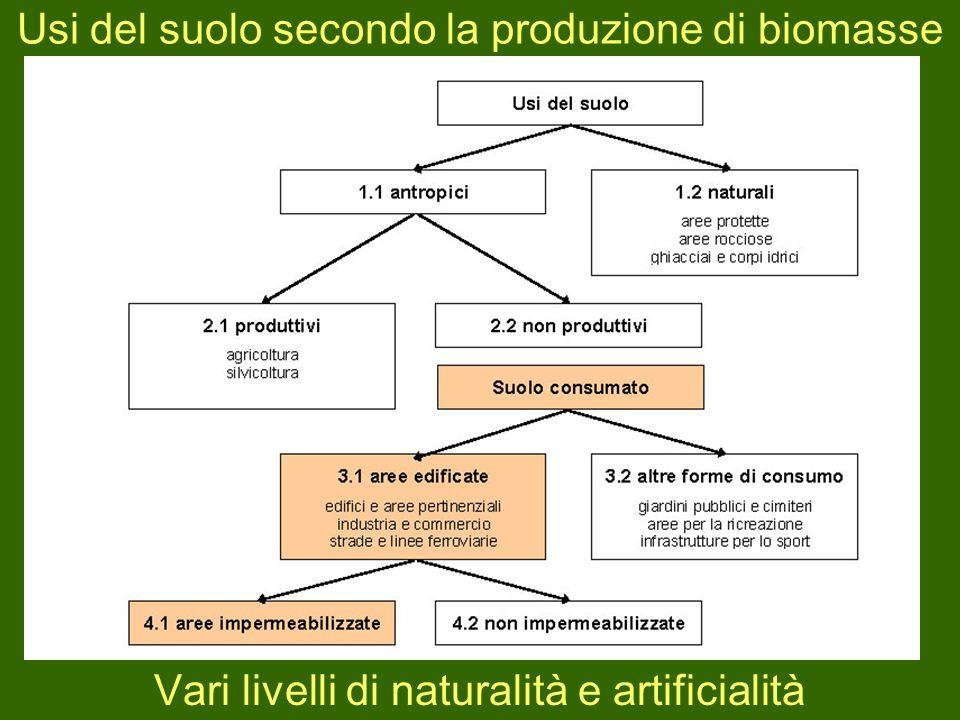Usi del suolo secondo la produzione di biomasse
