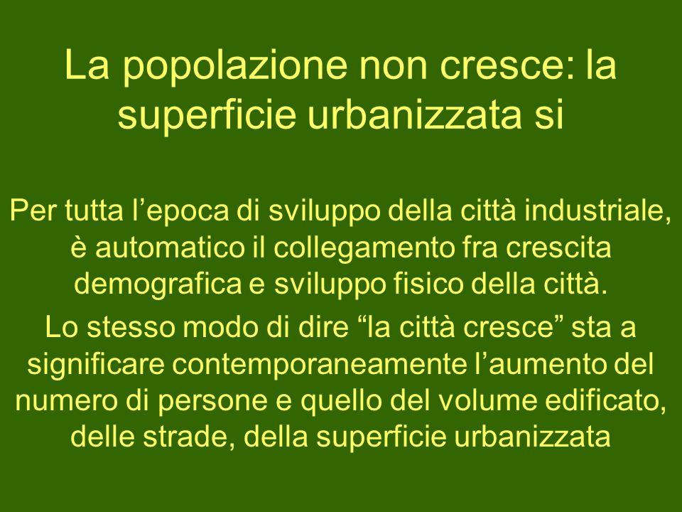 La popolazione non cresce: la superficie urbanizzata si