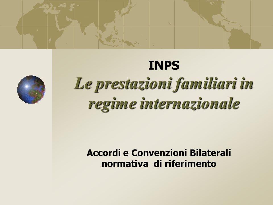 INPS Le prestazioni familiari in regime internazionale