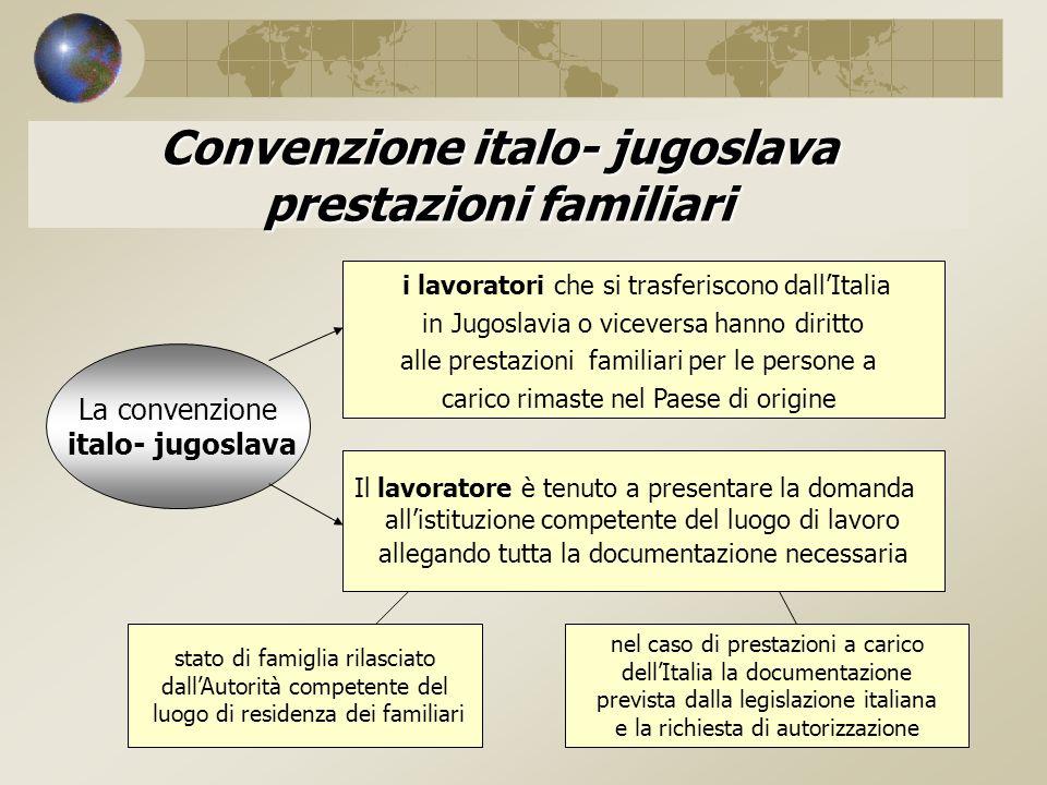 Convenzione italo- jugoslava prestazioni familiari