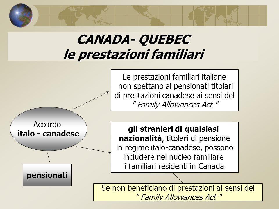 CANADA- QUEBEC le prestazioni familiari