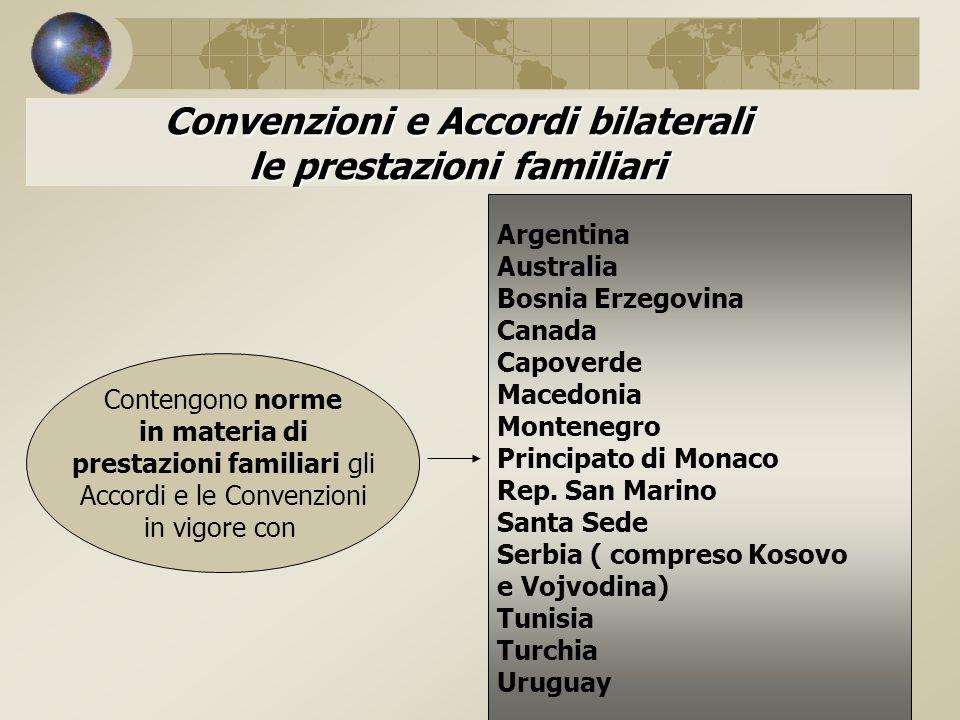 Convenzioni e Accordi bilaterali le prestazioni familiari