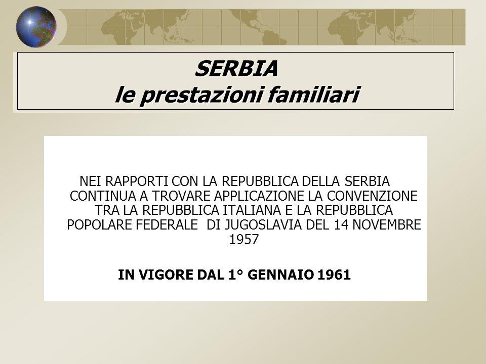 SERBIA le prestazioni familiari