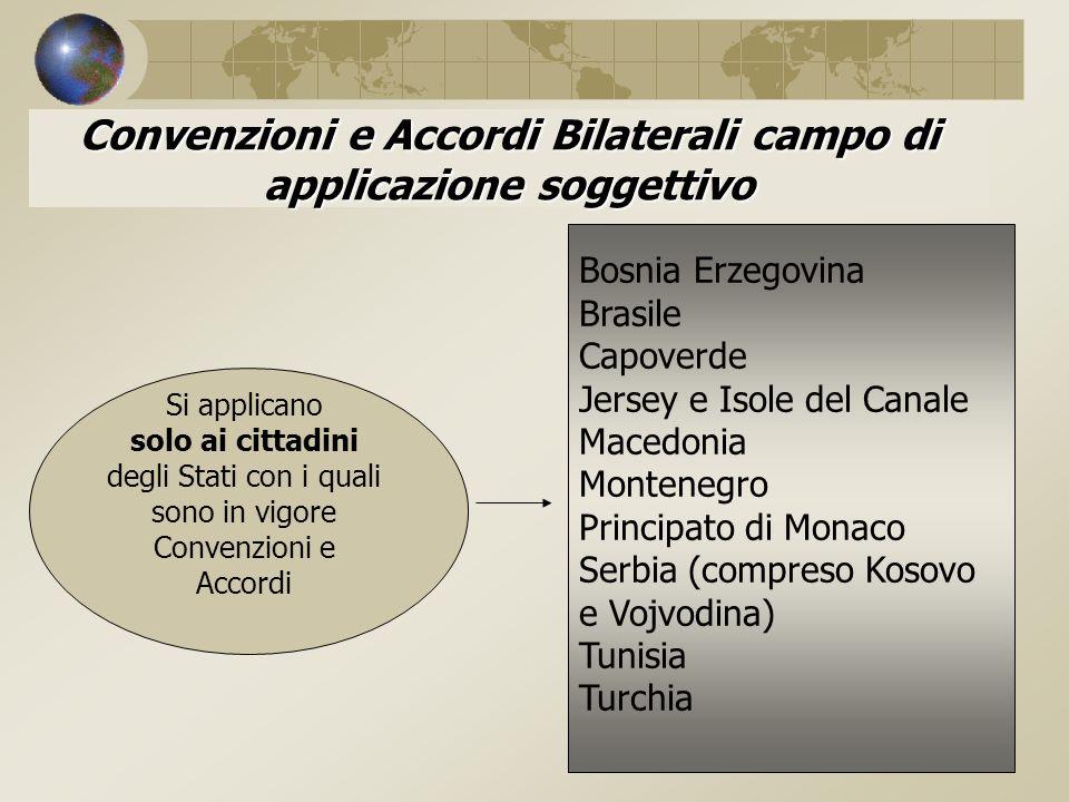 Convenzioni e Accordi Bilaterali campo di applicazione soggettivo