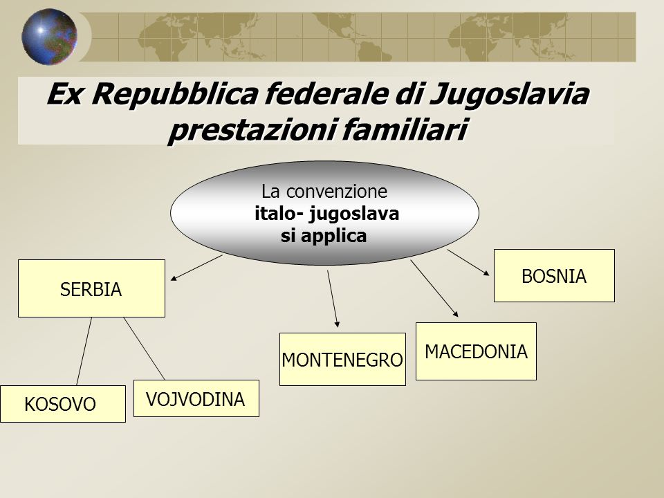 Ex Repubblica federale di Jugoslavia prestazioni familiari