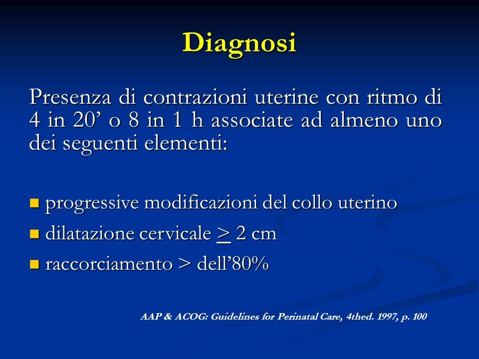 Diagnosi Presenza di contrazioni uterine con ritmo di 4 in 20' o 8 in 1 h associate ad almeno uno dei seguenti elementi: