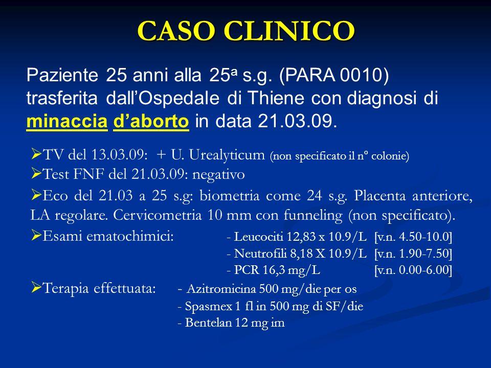 CASO CLINICO Paziente 25 anni alla 25a s.g. (PARA 0010) trasferita dall'Ospedale di Thiene con diagnosi di minaccia d'aborto in data 21.03.09.