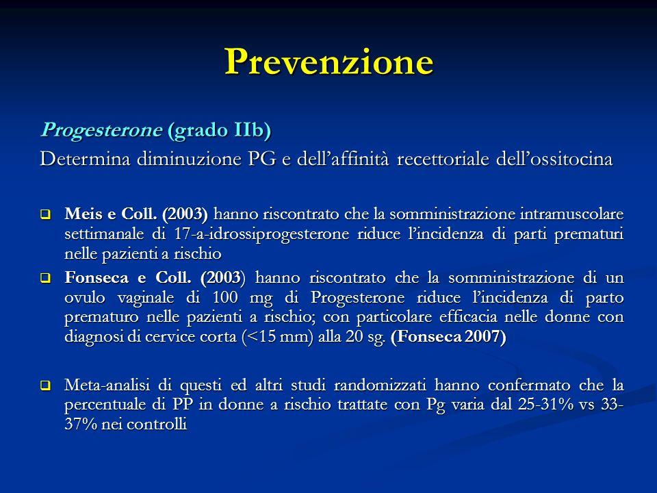 Prevenzione Progesterone (grado IIb)