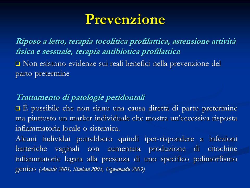 Prevenzione Riposo a letto, terapia tocolitica profilattica, astensione attività fisica e sessuale, terapia antibiotica profilattica.