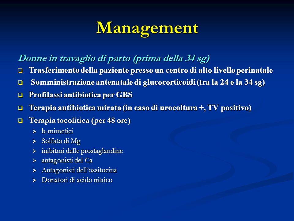 Management Donne in travaglio di parto (prima della 34 sg)