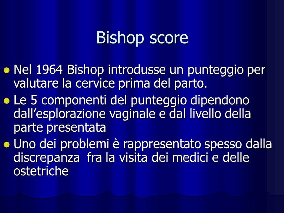 Bishop score Nel 1964 Bishop introdusse un punteggio per valutare la cervice prima del parto.