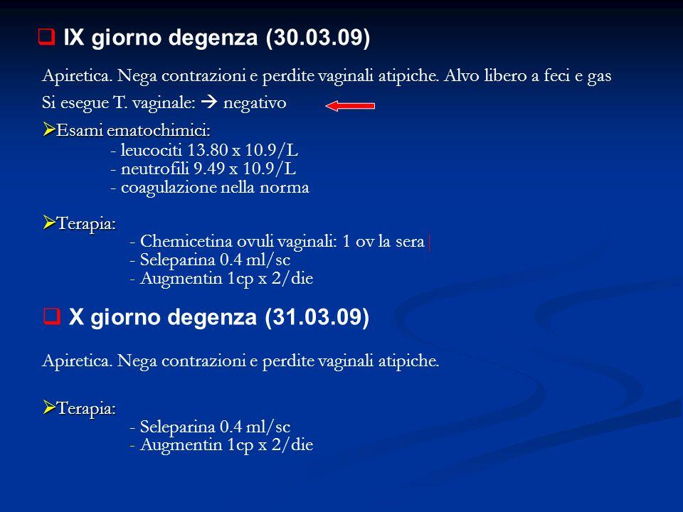 IX giorno degenza (30.03.09) X giorno degenza (31.03.09)