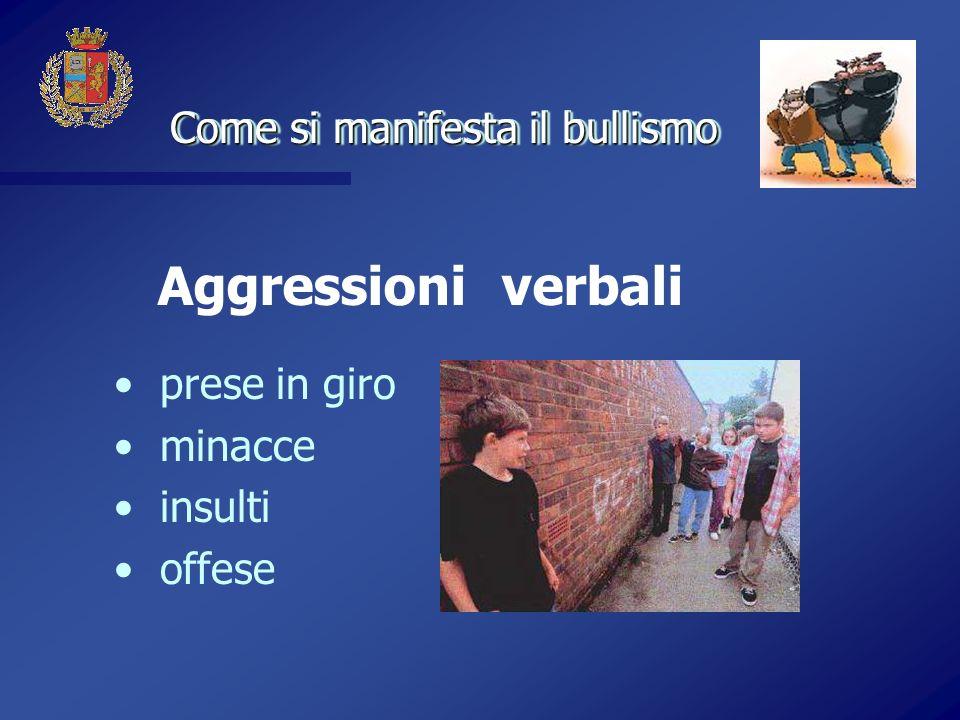 Aggressioni verbali Come si manifesta il bullismo prese in giro
