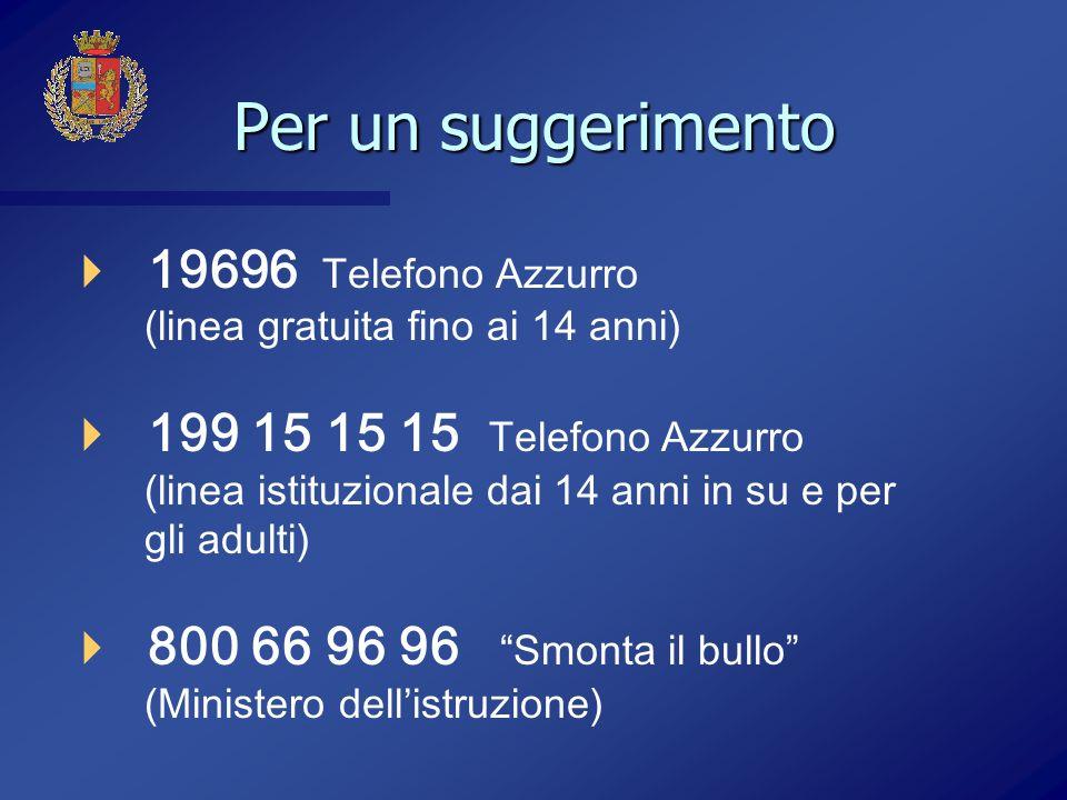 Per un suggerimento 19696 Telefono Azzurro (linea gratuita fino ai 14 anni)