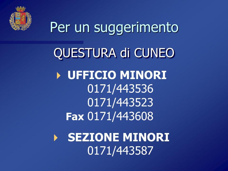 Per un suggerimento QUESTURA di CUNEO UFFICIO MINORI 0171/443536