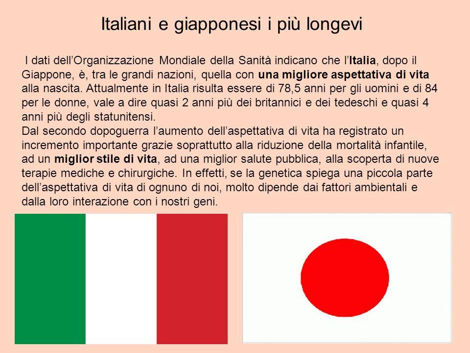 Italiani e giapponesi i più longevi
