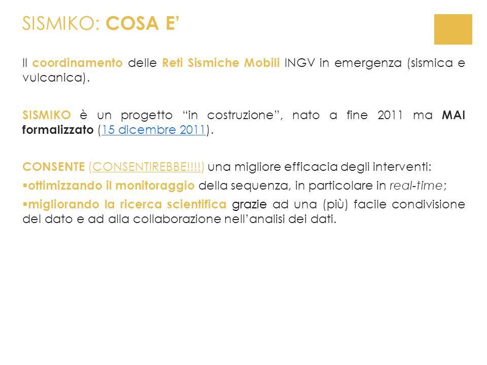 SISMIKO: COSA E'Il coordinamento delle Reti Sismiche Mobili INGV in emergenza (sismica e vulcanica).