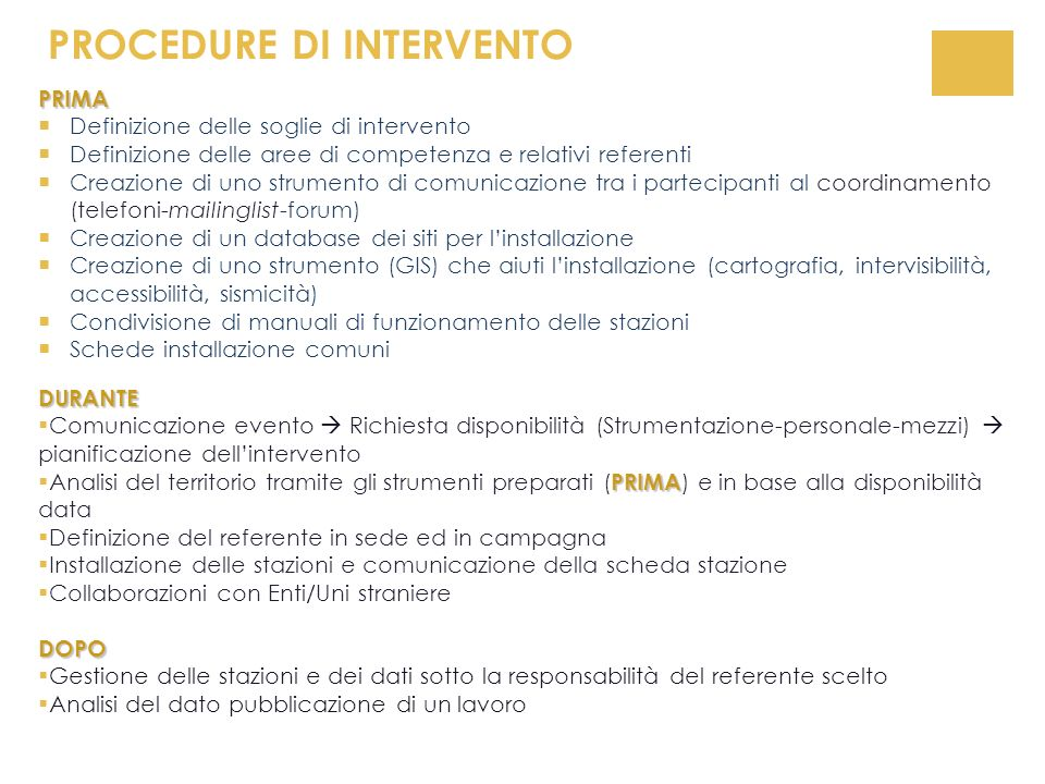 PROCEDURE DI INTERVENTO